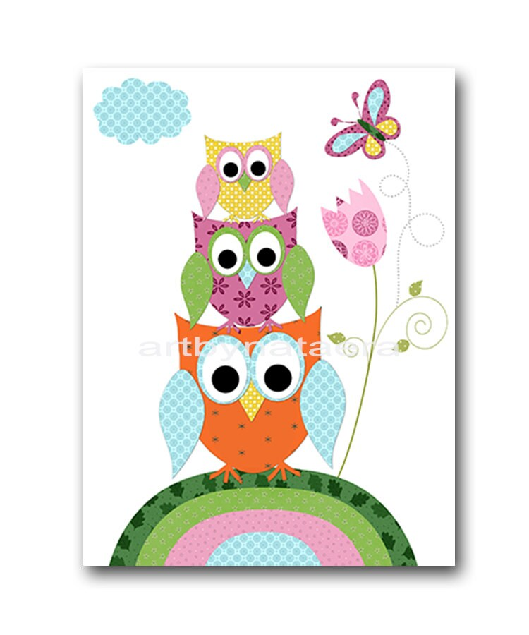 Baby shower gift owl decor owl nursery baby girl by artbynataera - Girl owl decor ...
