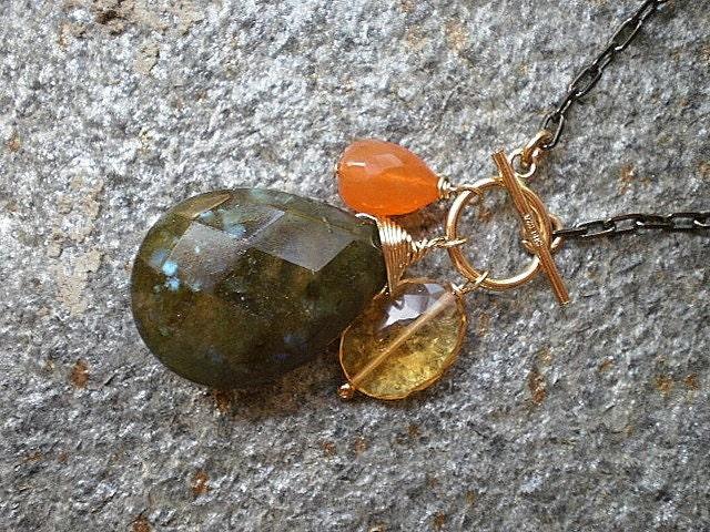 Kendra - Labradorite, Carnelian and Citrine Necklace