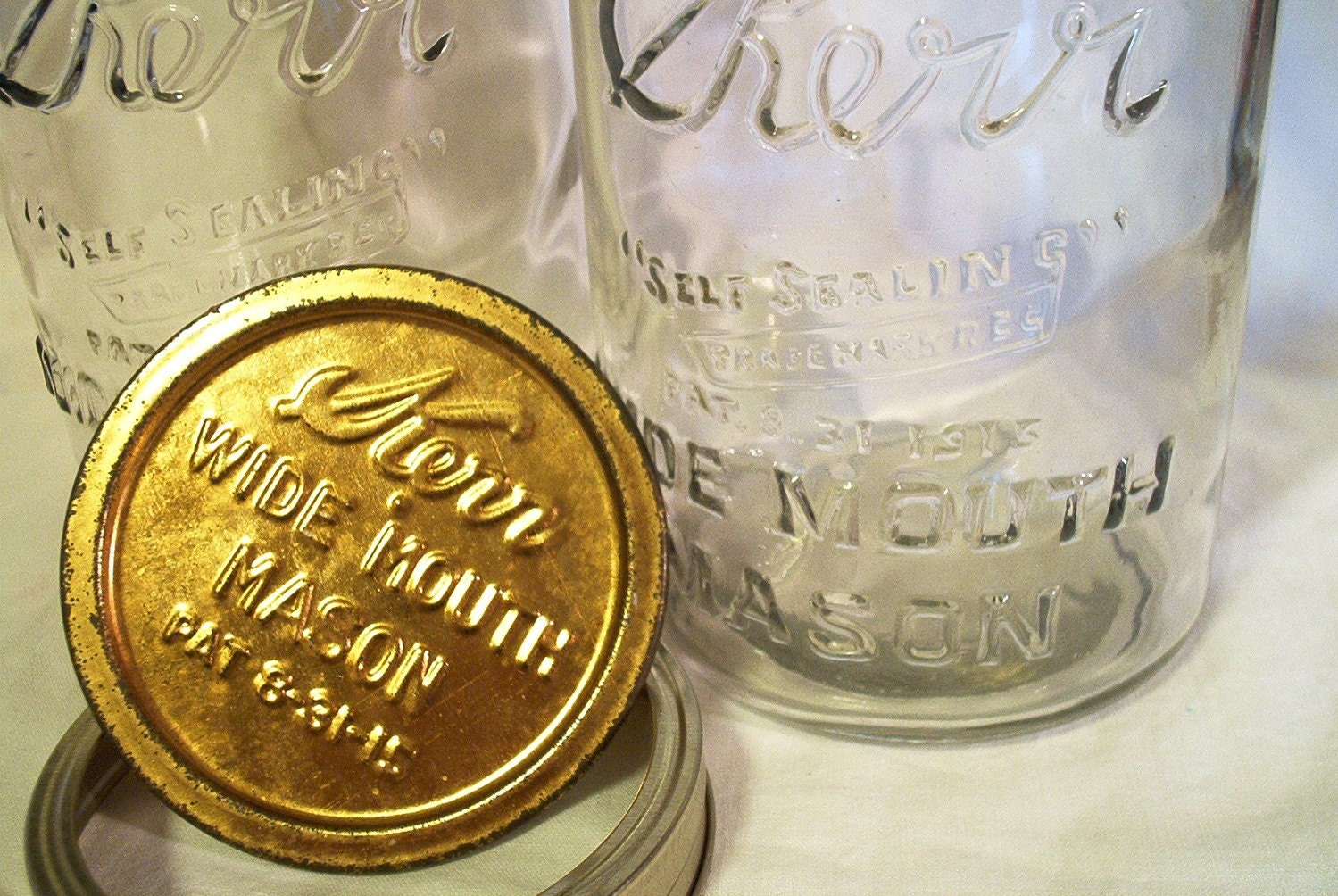 Two Antique Kerr Mason Fruit Canning Jars Wide Mouth Patented Metal Lids Embossed Patent Date
