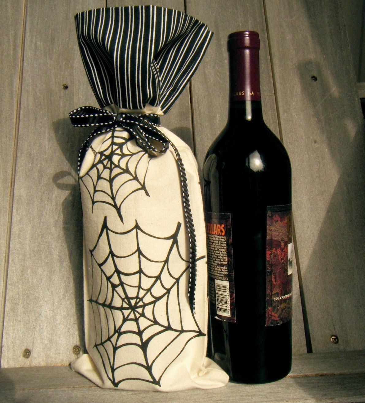 Spider Web Wine Tote Bag