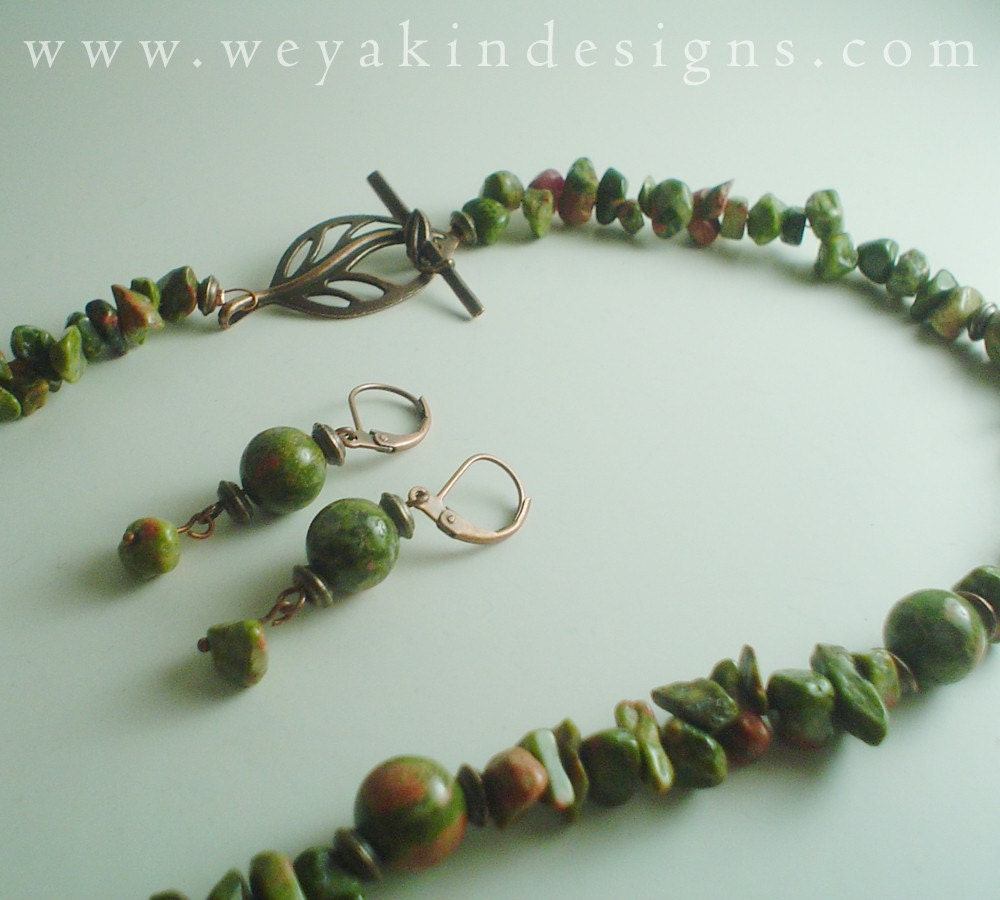 Moss Faerie Unakite Necklace and Earring Set by Weyakin Designs