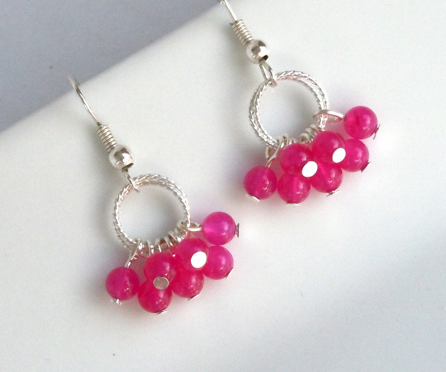 You CHOOSE the Color, Fuchsia and Silver Loop Dangle Earrings Simple Fun Bright Pink Spring Easter