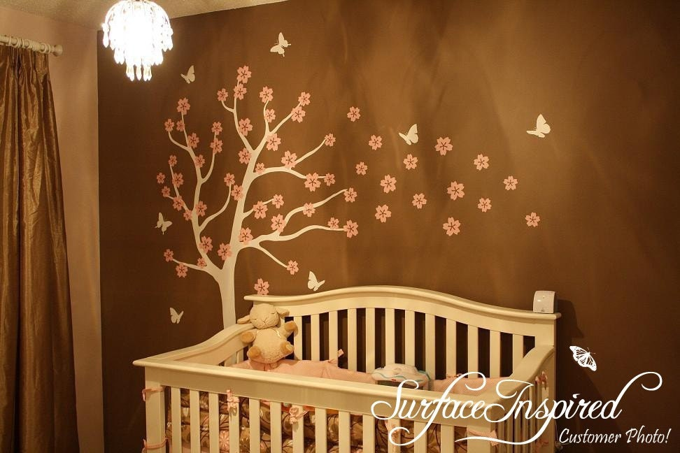 Blowing Cherry Blossom Tree - Baby Nursery Wall Decals
