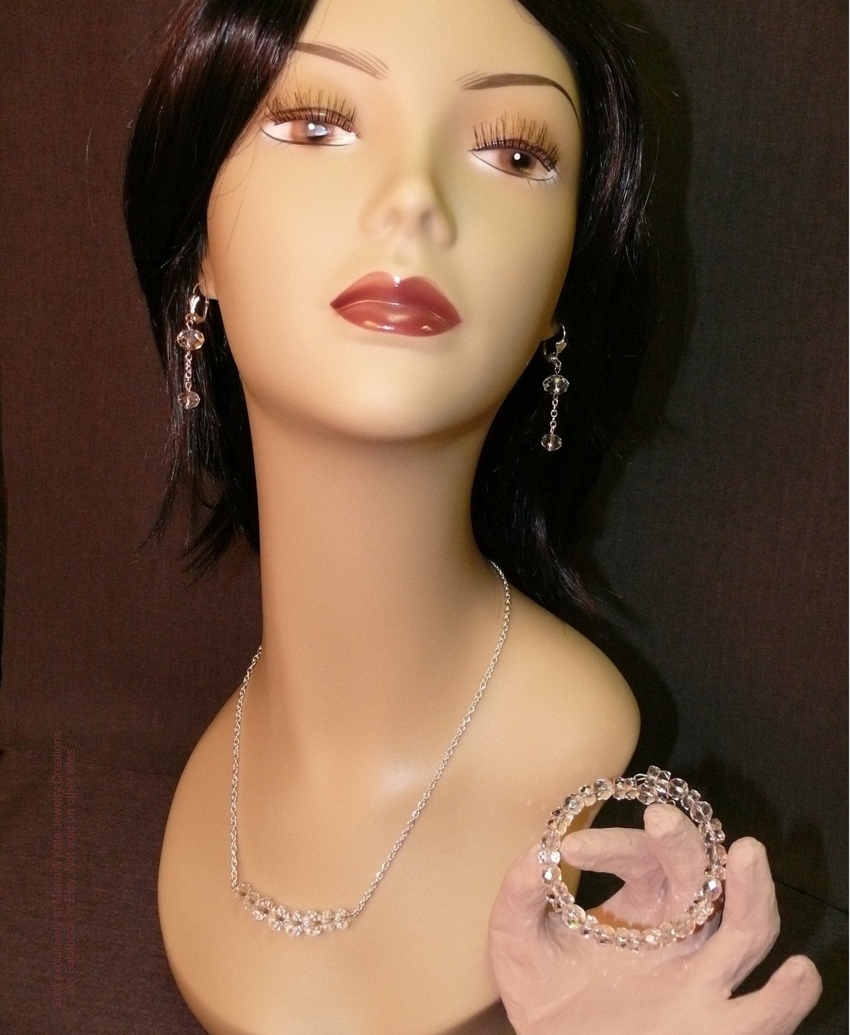 Lola's Glimmering Eyes Collection- Crystal Rondelles Earrings Necklace and Bracelet Set