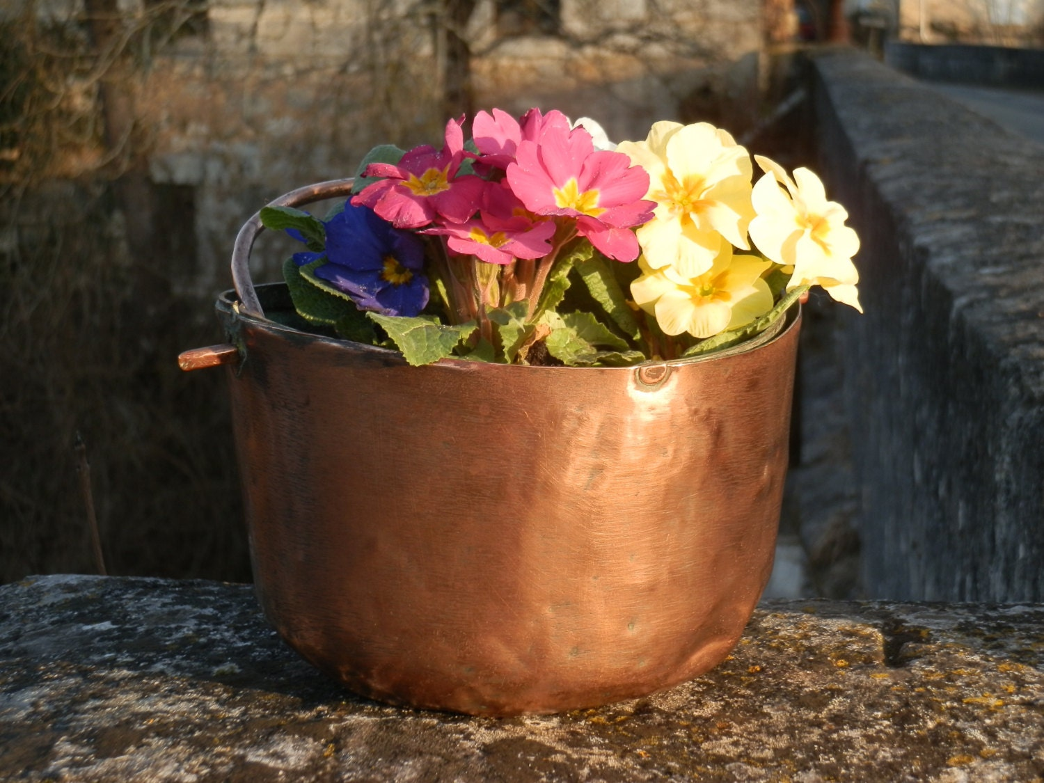 Copper Cauldron. French Vintage Cauldron, Hanging Planter.  French Country French Provincial Decor - GoshnPoche