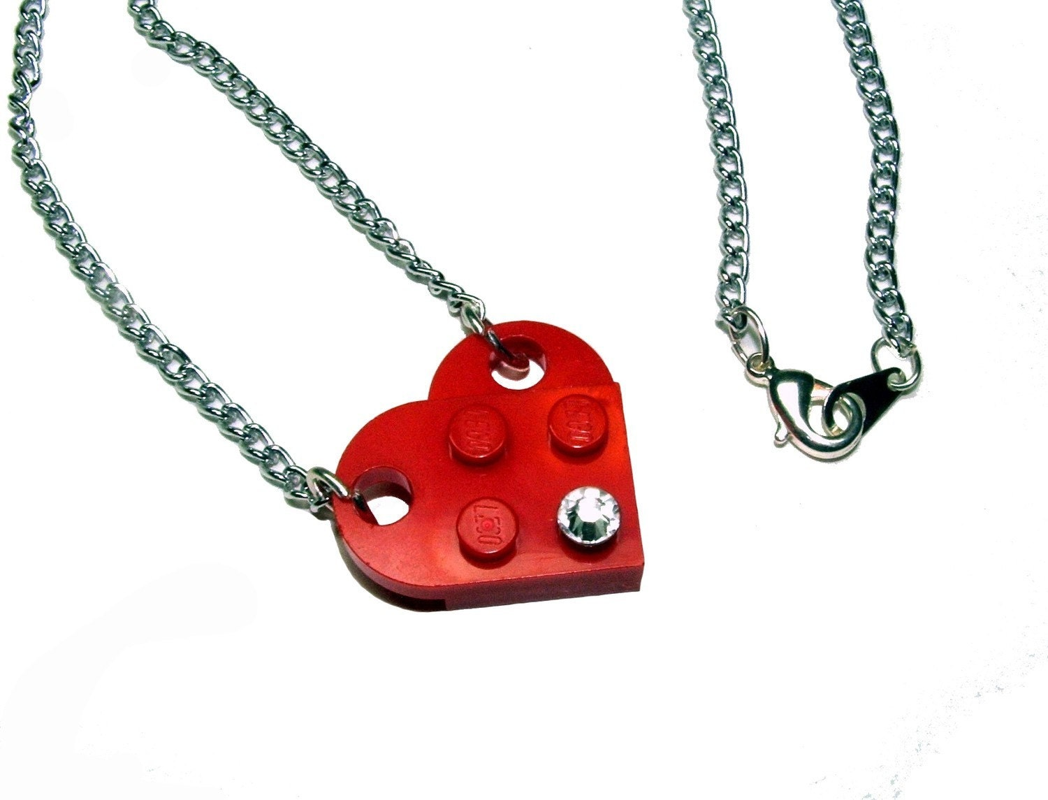 Lego Heart with Crystal on Silver-Tone Curb Chain, Swarovski Crystal Elements