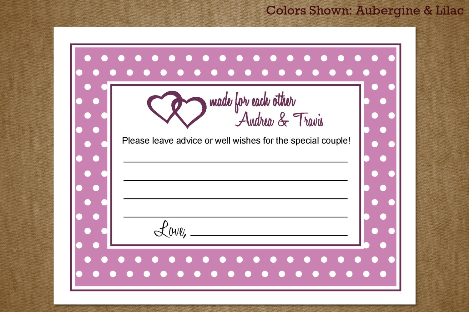 bridal shower advice card and well wishes by jackaroodesigningco