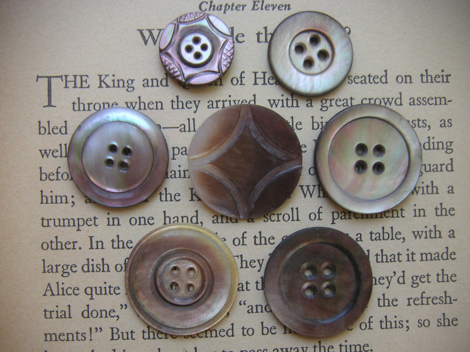 VINTAGE, LARGE SMOKEY  SHELL BUTTONS,  MOTHER OF PEARL