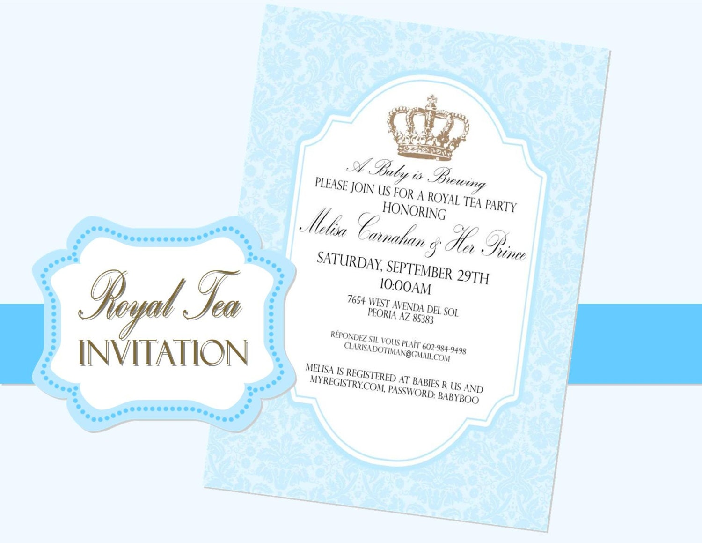 invitation prince invite baby shower bridal wedding royal baby