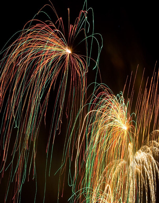 ACEO art card metallic photography fireworks the golden cascades - LDphotography