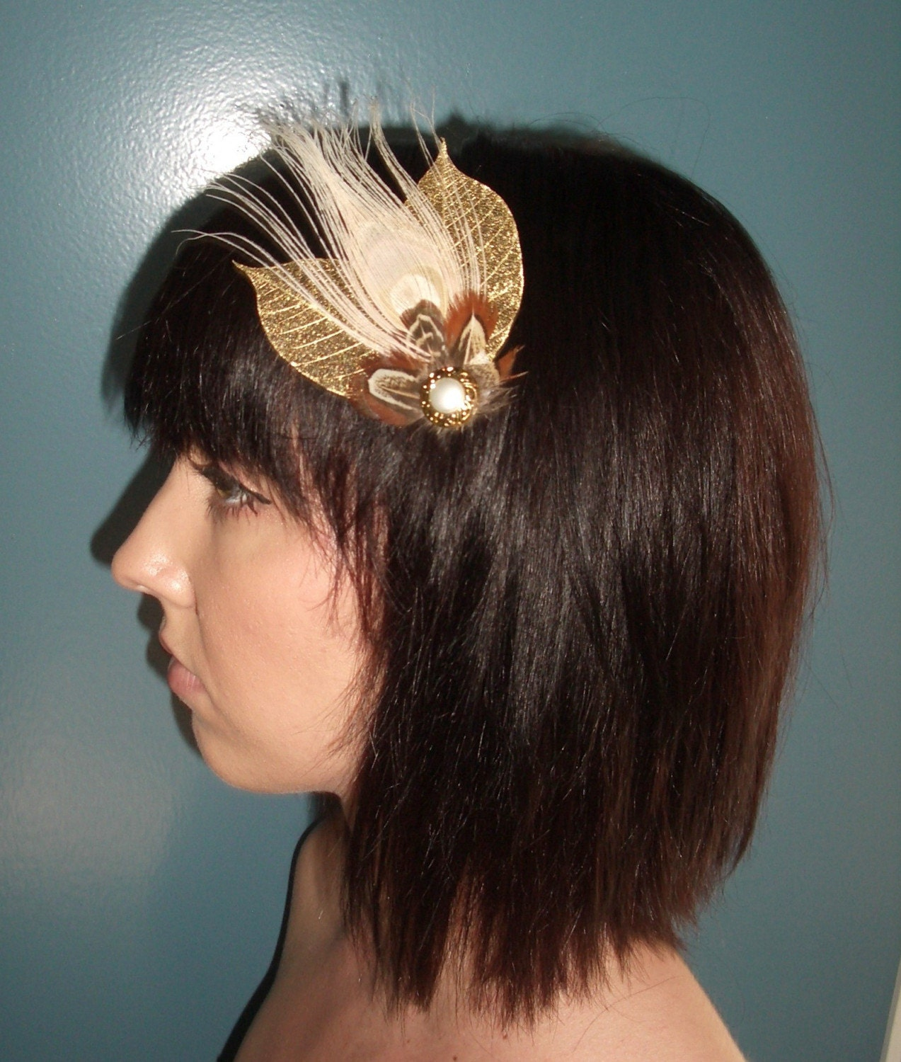 Golden Bleached Peacock Fascinator by TessaKim on Etsy from etsy.com