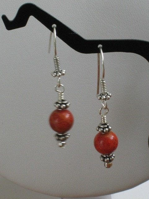 Sterling Silver, Apple Coral Dangle