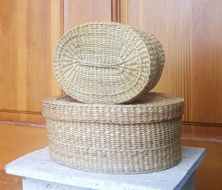 Pair of 2 Vintage Woven Baskets with Lids. From ShabbyNChic