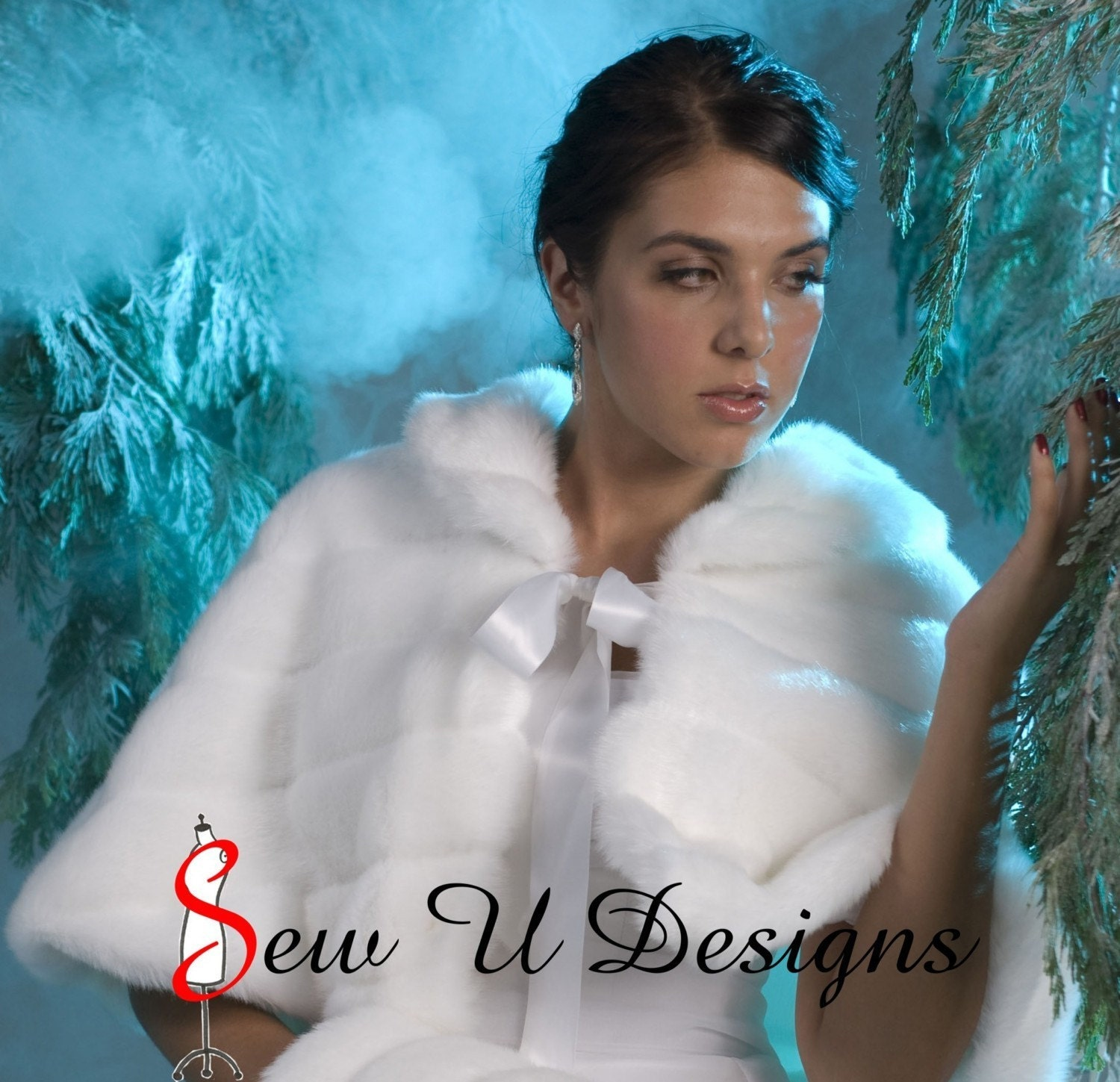 Faux Fur Winter Wedding Cape Capelet   Available ONLY in Ivory  or  Black Grooved Faux Fur