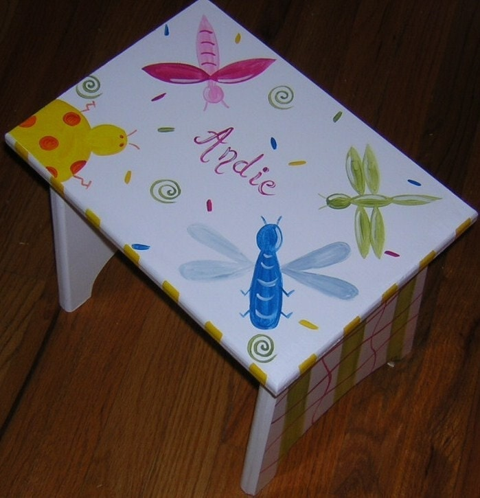 hand-painted wooden step stool