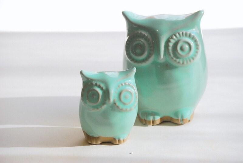 Mint green owl home decor