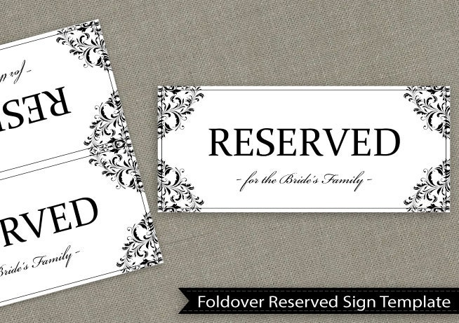 reserved sign template printable wedding reception sign reserved for family sign instant. Black Bedroom Furniture Sets. Home Design Ideas