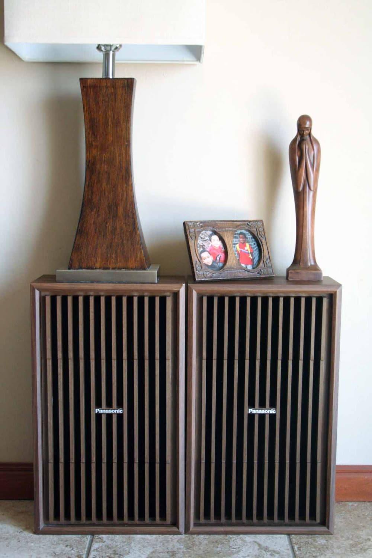 Pair Of Panasonic Stereo Speakers Mid Century By
