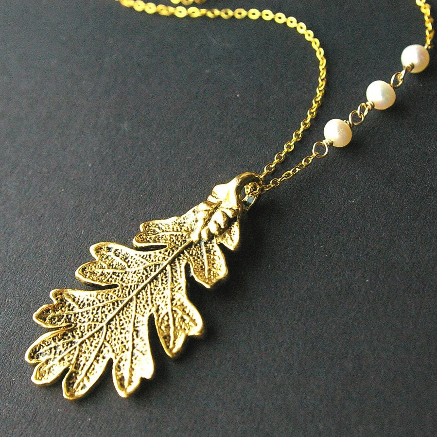 Golden Oak, Leaf and Freshwater Pearl Necklace -great gifts