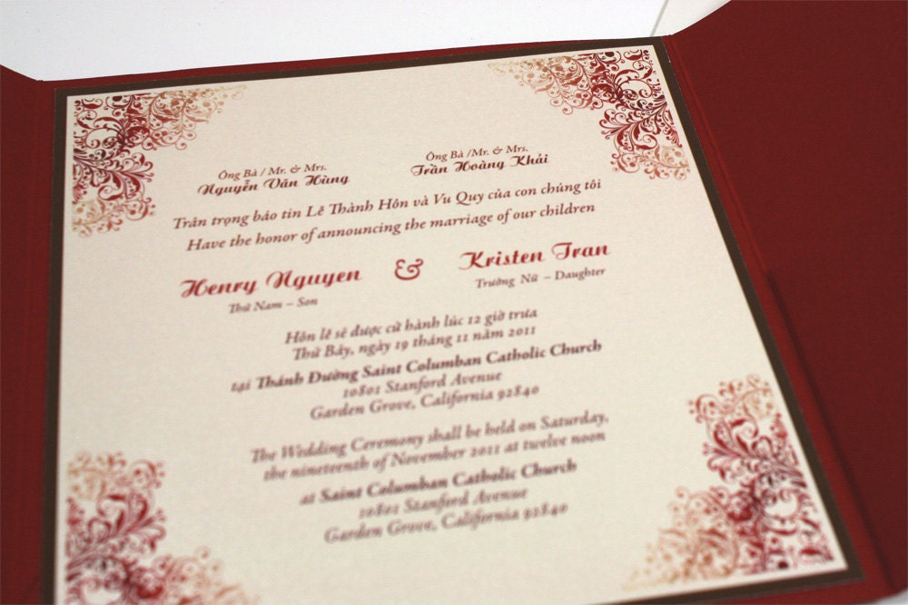 Vietnamese Wedding Invitation can inspire you to create best invitation template