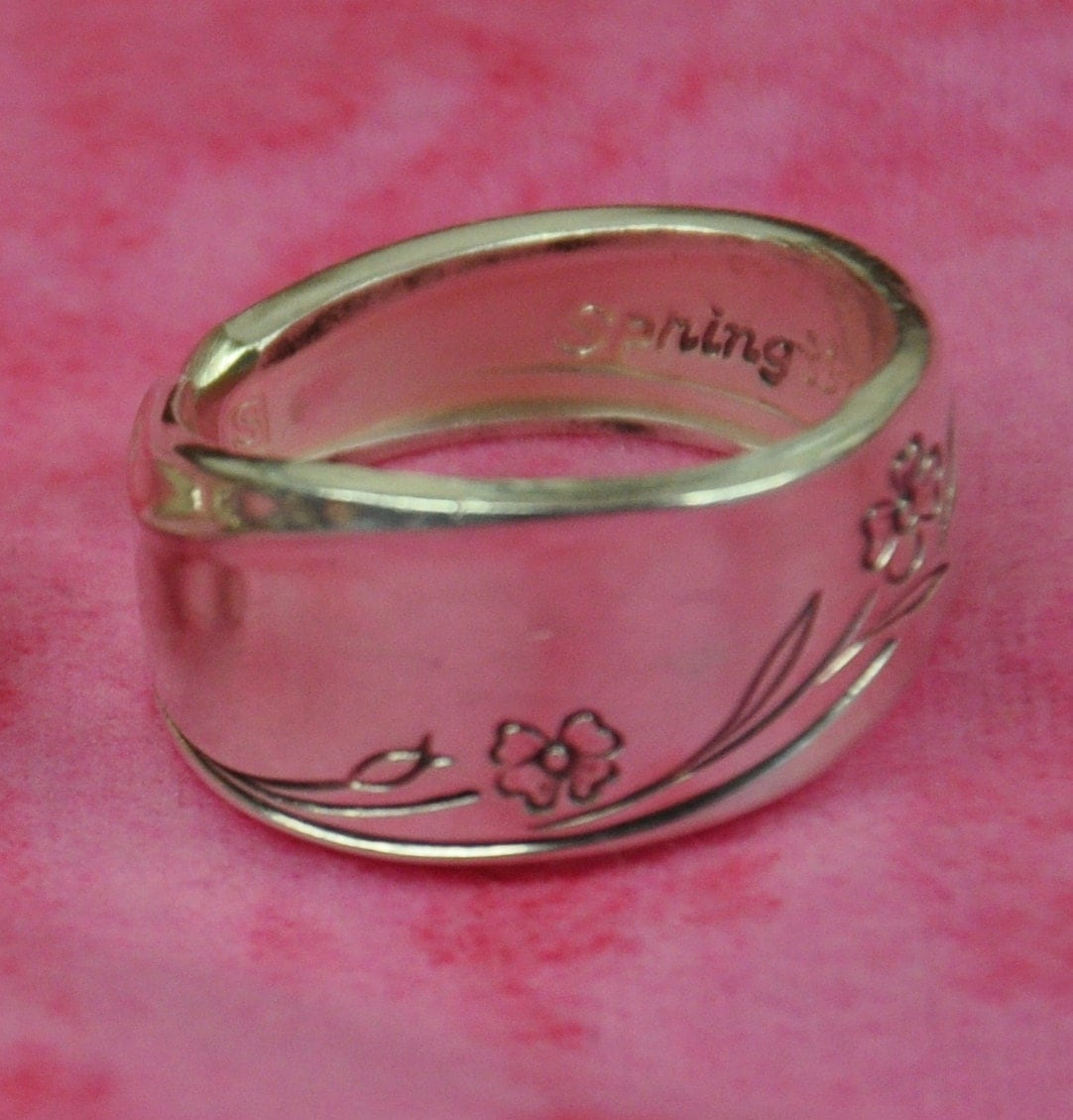 Spoon ring ANY size Springtime Pattern