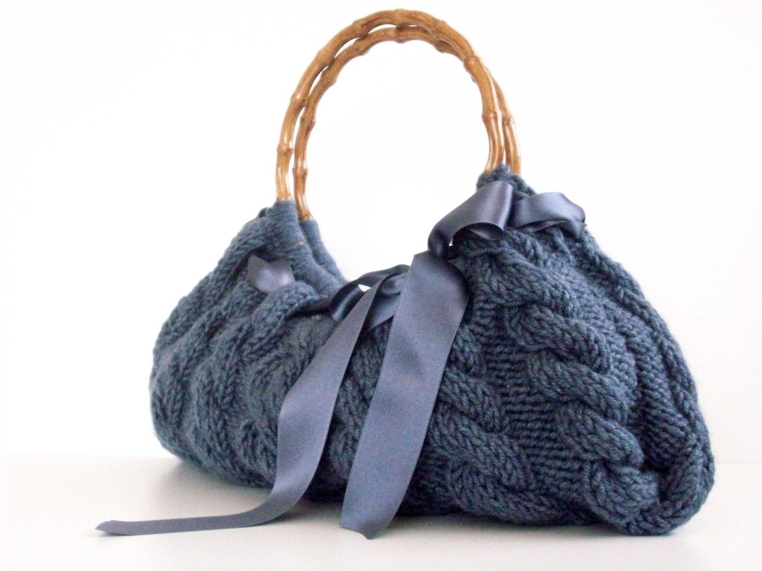 SHOULDER Bag, Handbag Everyday Knitted Bag Nr.0115 Dark Denim Melange