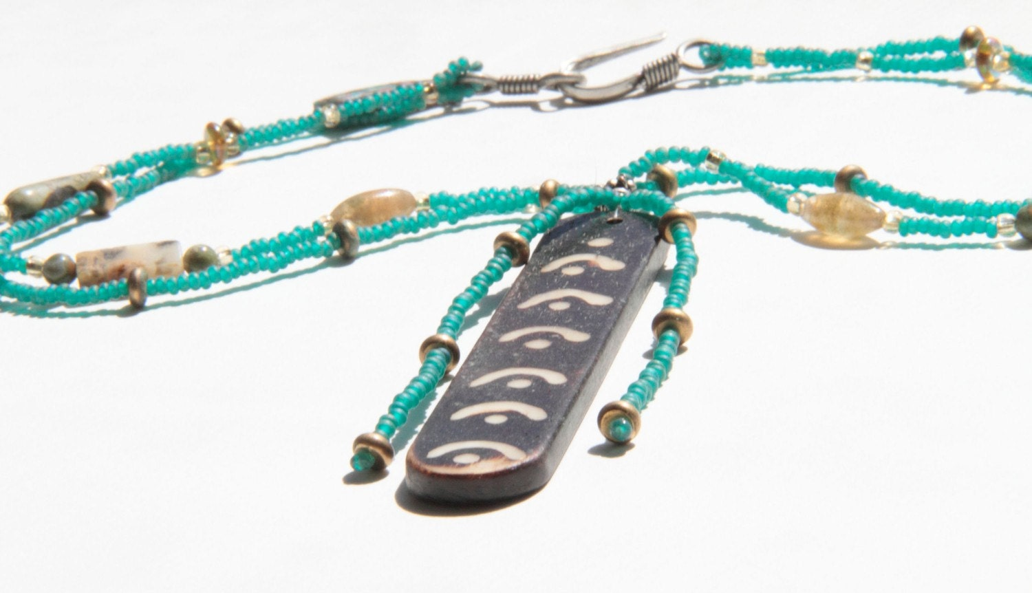 Blue Green and Bone Necklace
