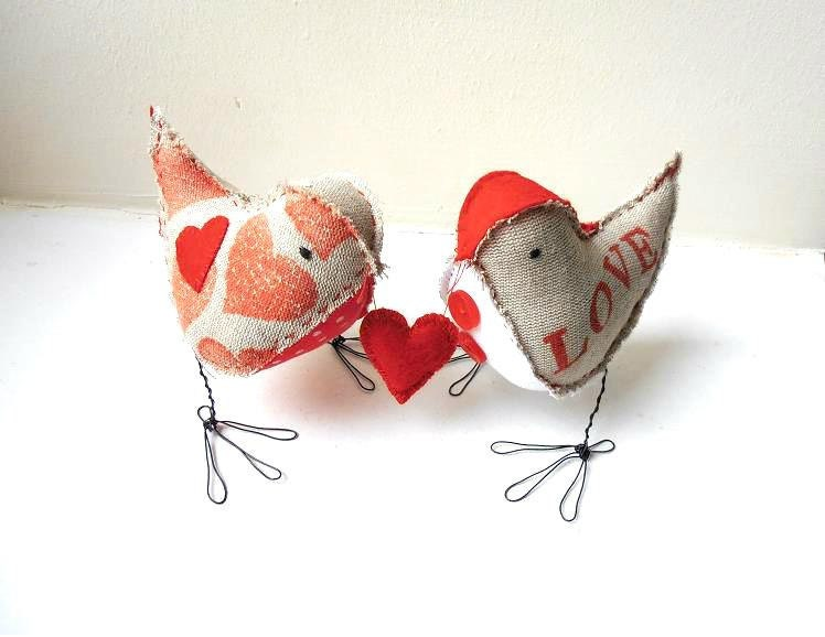 Love Birds fabric stuffed figurines Valentine's gift soft sculptures rustic linen red gray white
