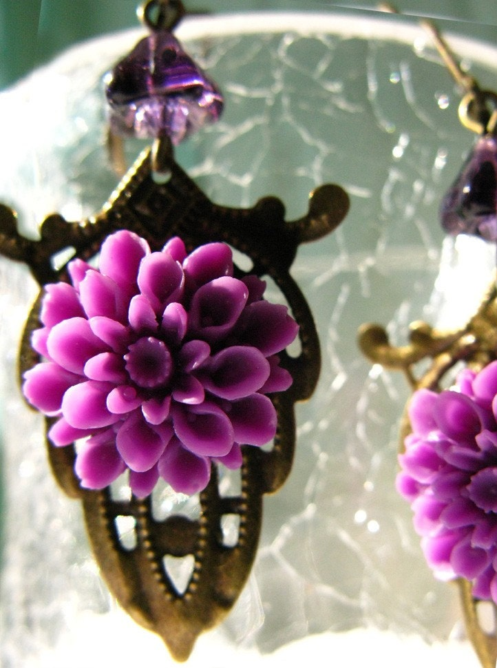 Purple Nostalgic Earrings With An Art Nouveau Feel