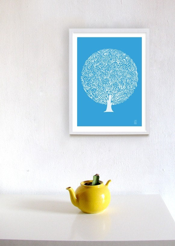 Blue Tree Print