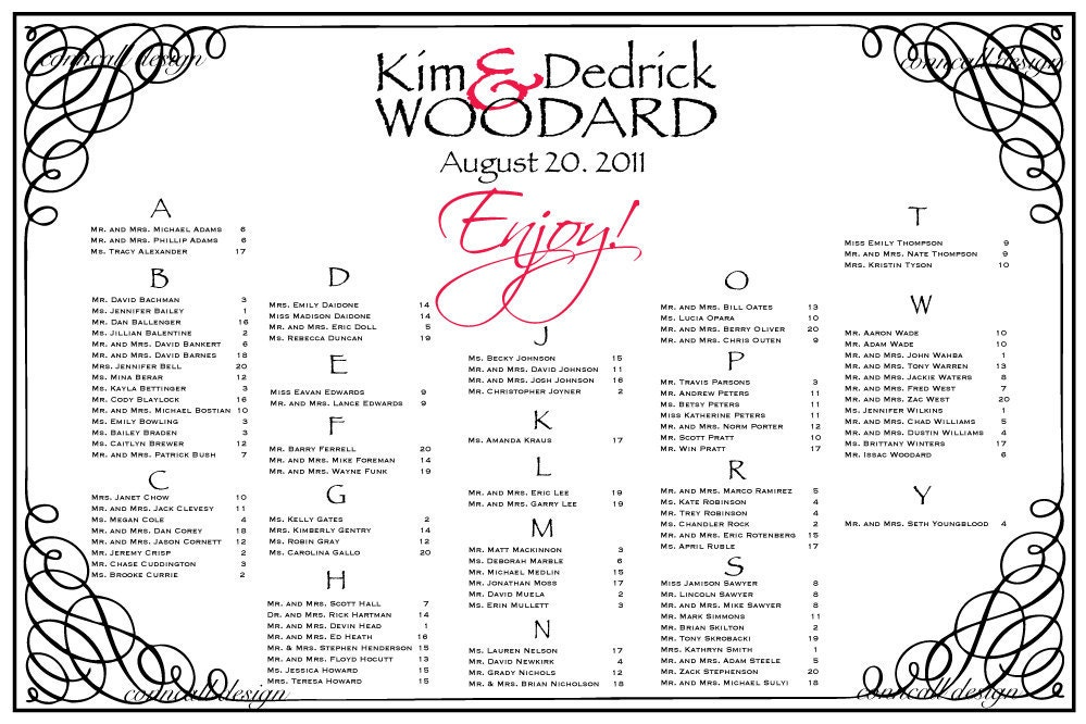 Seating Chart Template Free Individual Table Seating Charts