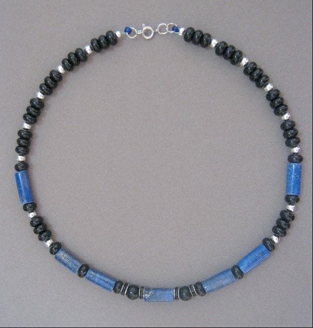Denim and Leather Genuine Lapis Lazuli and Black Onyx Necklace