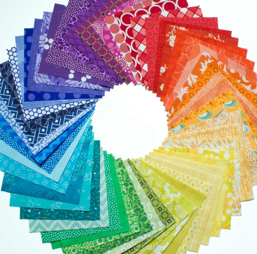 54 Color Wheel Charm Squares Quilting Fabric By Surlysheep