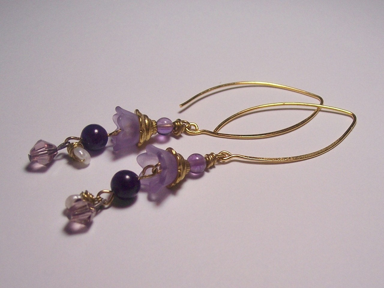 Purple Petal Pearl and Vermeil Earrings