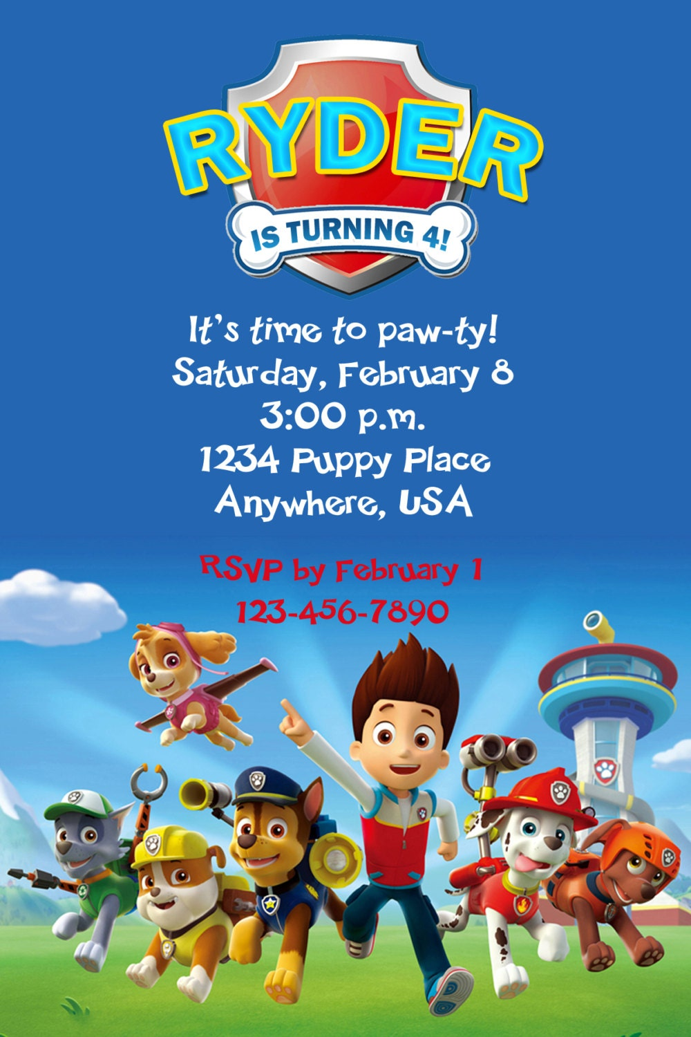 Paw patrol party invitations party invitations ideas for Paw patrol birthday invites