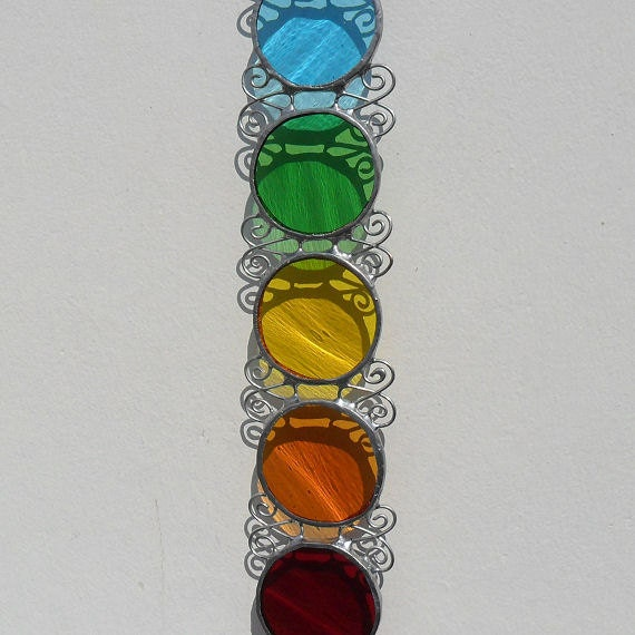 Chakra Suncatcher, Stained Glass Suncatcher, Stained Glass Chakra Decoration, Chakra Window Decoration