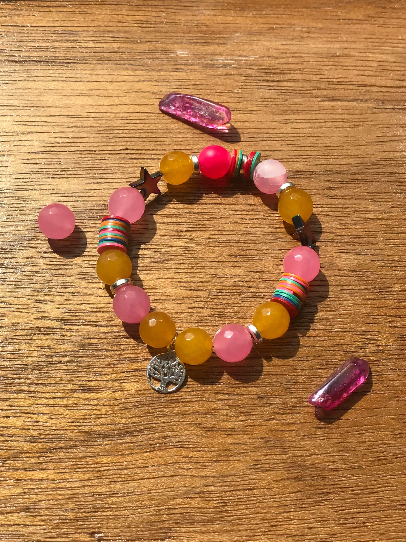 Sterling Silver Bracelet Tree of Life bracelet Charm Stack Bracelet 925 Silver African Vinyl Pink Jade hematite star bracelet
