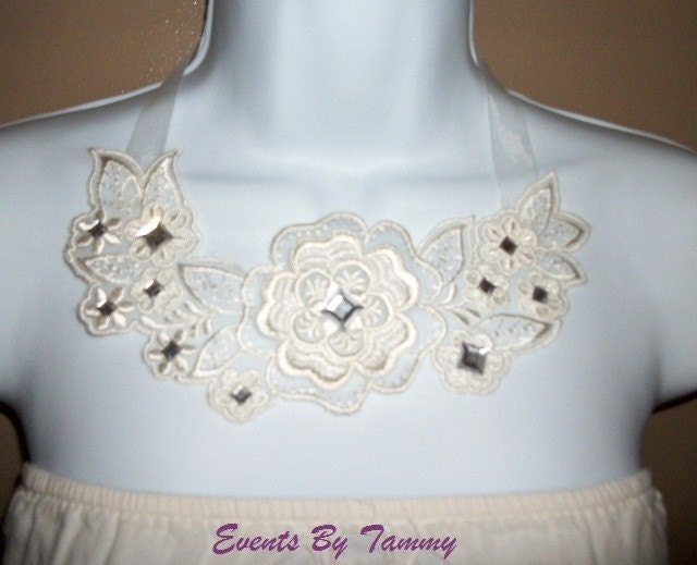 Ivory Floral Organza Bib Necklace With Diamond Shaped Rhinestones