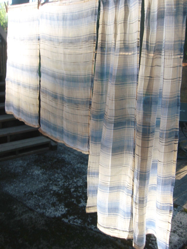 4 Blue And White Striped Sheer Curtain Panels By Amiableleaf