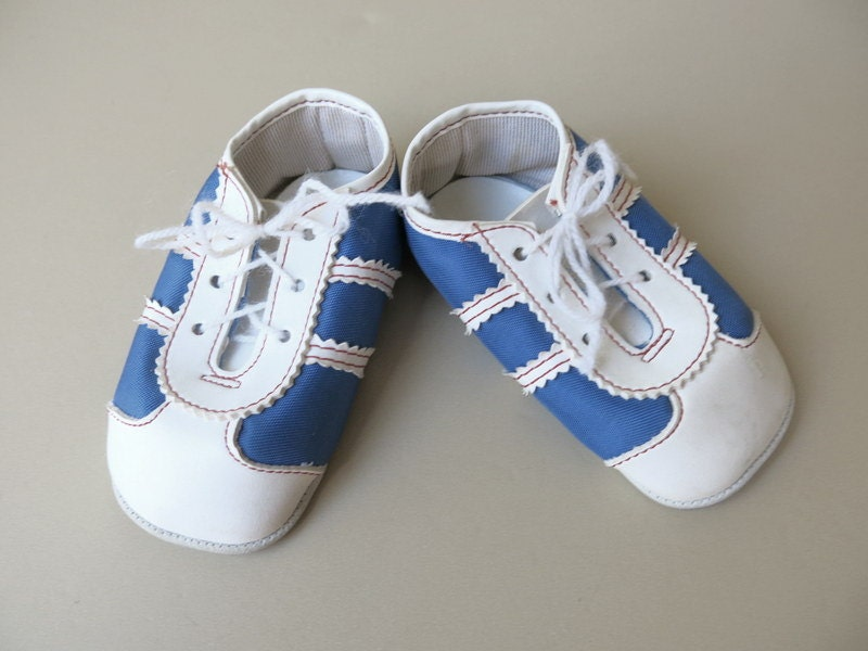 vintage blue white cloth doll baby boy shoes 599 by