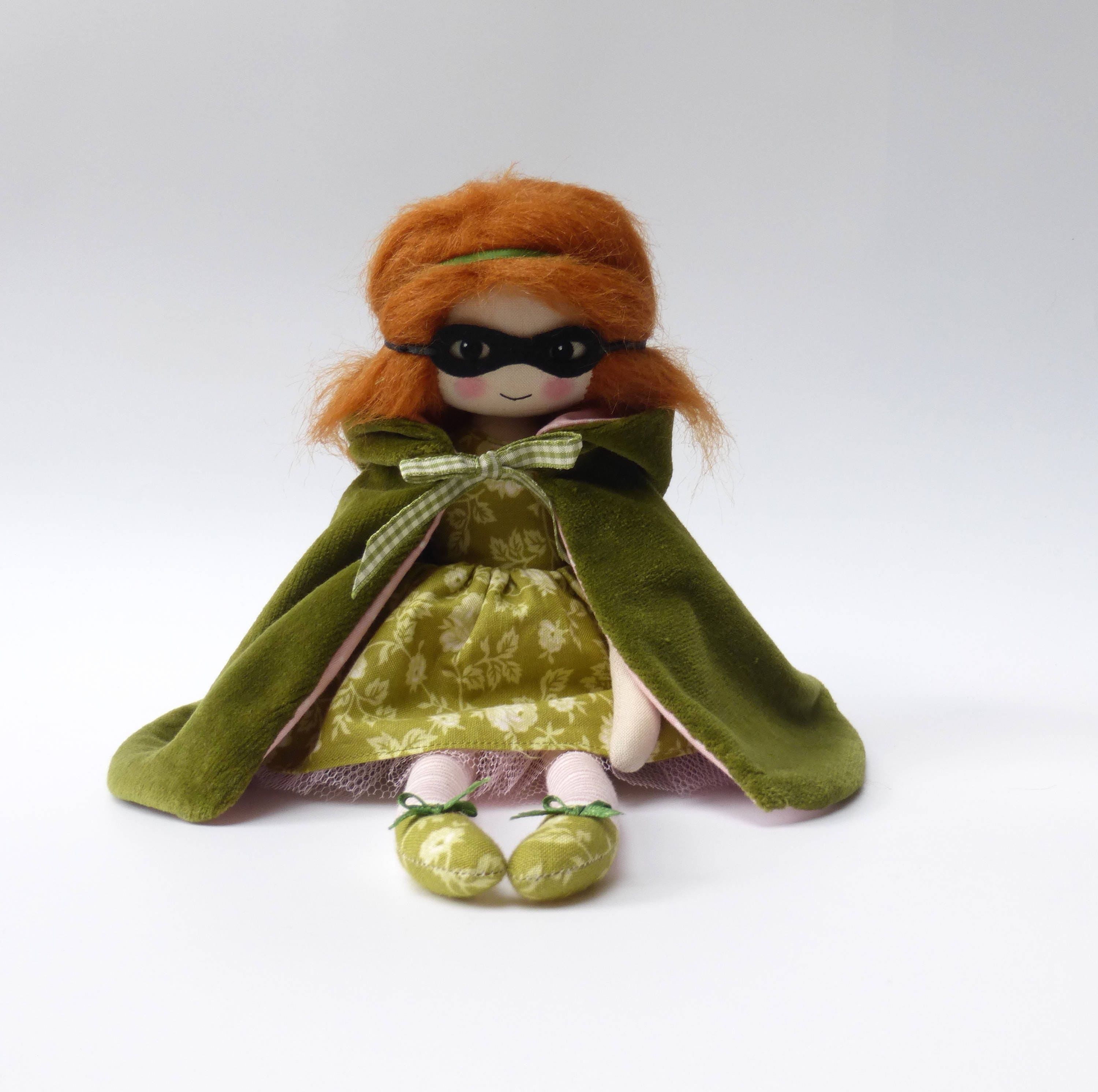 cloth doll art doll masque doll mysterious girl doll in green cloak unique gift gifts for her mothers day gift