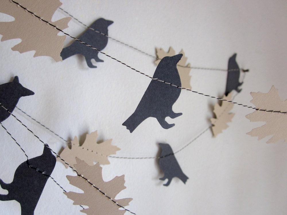 Crow Garland - Autumn Garland  - Custom Garland - The Old Black Crow