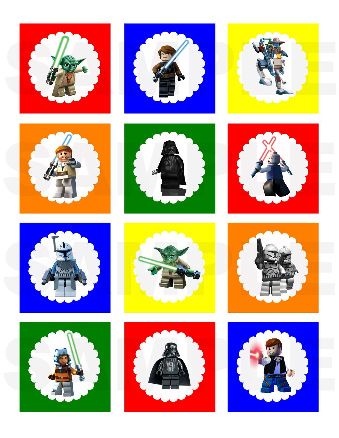 Items similar to DIY Printable Lego Star Wars Inspired Cupcake Toppers ...
