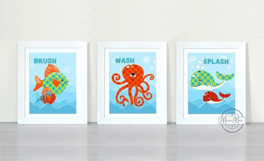Wall Art For Childrens Bathroom : Ocean theme prints personalized kids wall art bathroom by