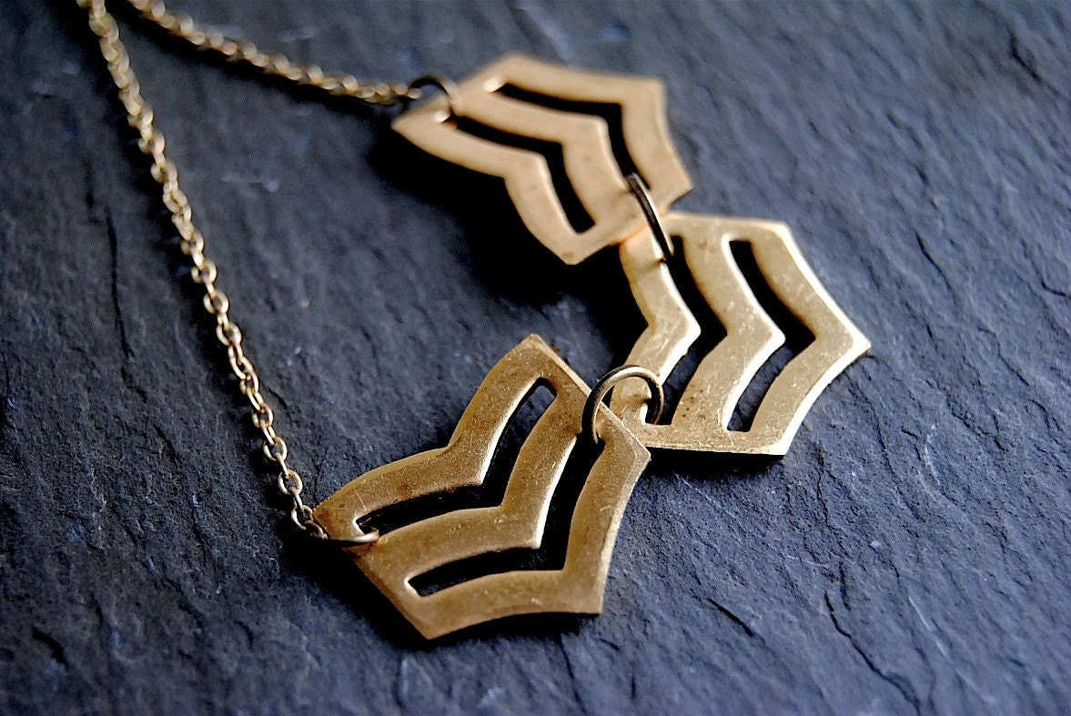 Vintage Brass Chevron Necklace - Free Shipping in the US