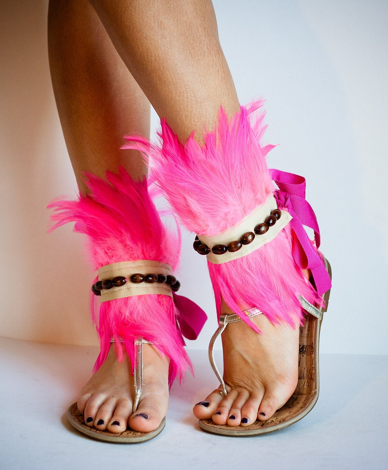 WARRIOR Beaded Neon Pink Feather Ankle Cuffs