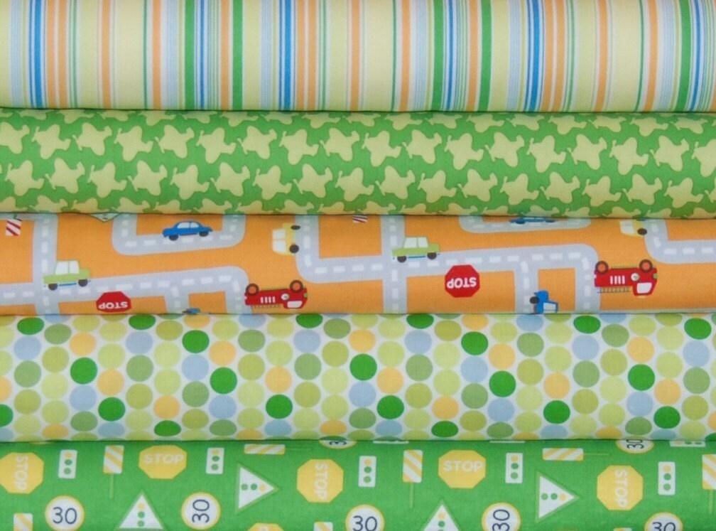 Half Yard Bundle of 5 - Traffic Jam by Allison Jane Smith in green