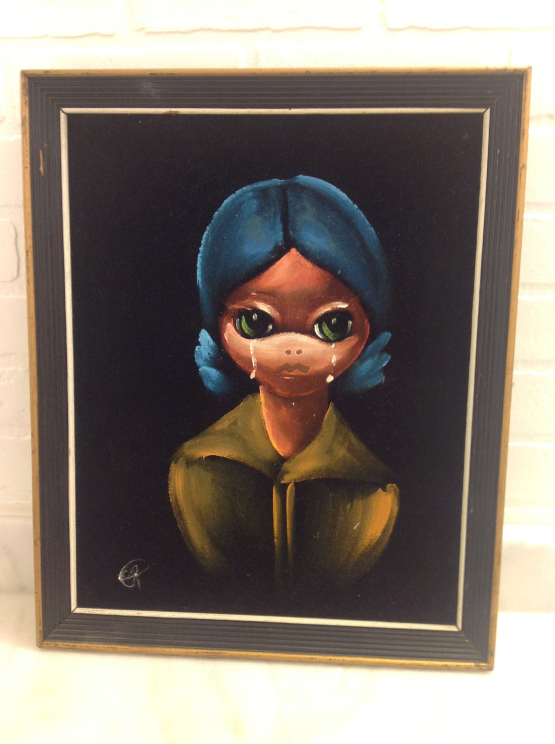 1960s Mexico Original Signed Velvet Crying By