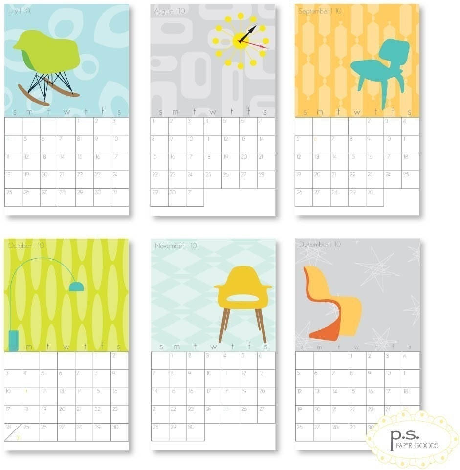 retro-themed calendar, via Etsy: pspapergoods, USD$15