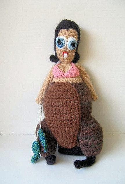 Beaver Girl OOAK Crochet Art Doll